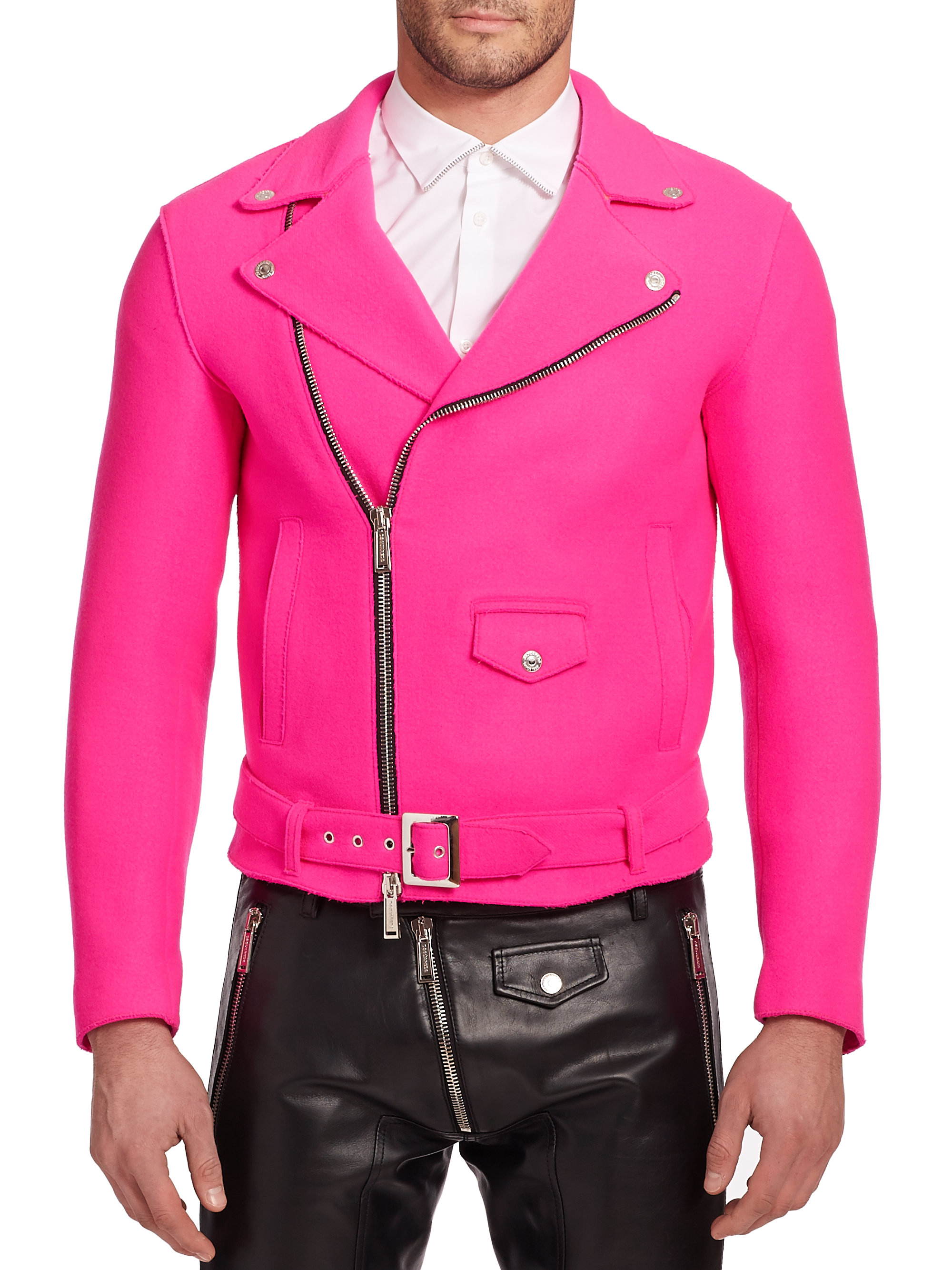 Dsquared² Wool Moto Jacket in Pink for Men | Lyst