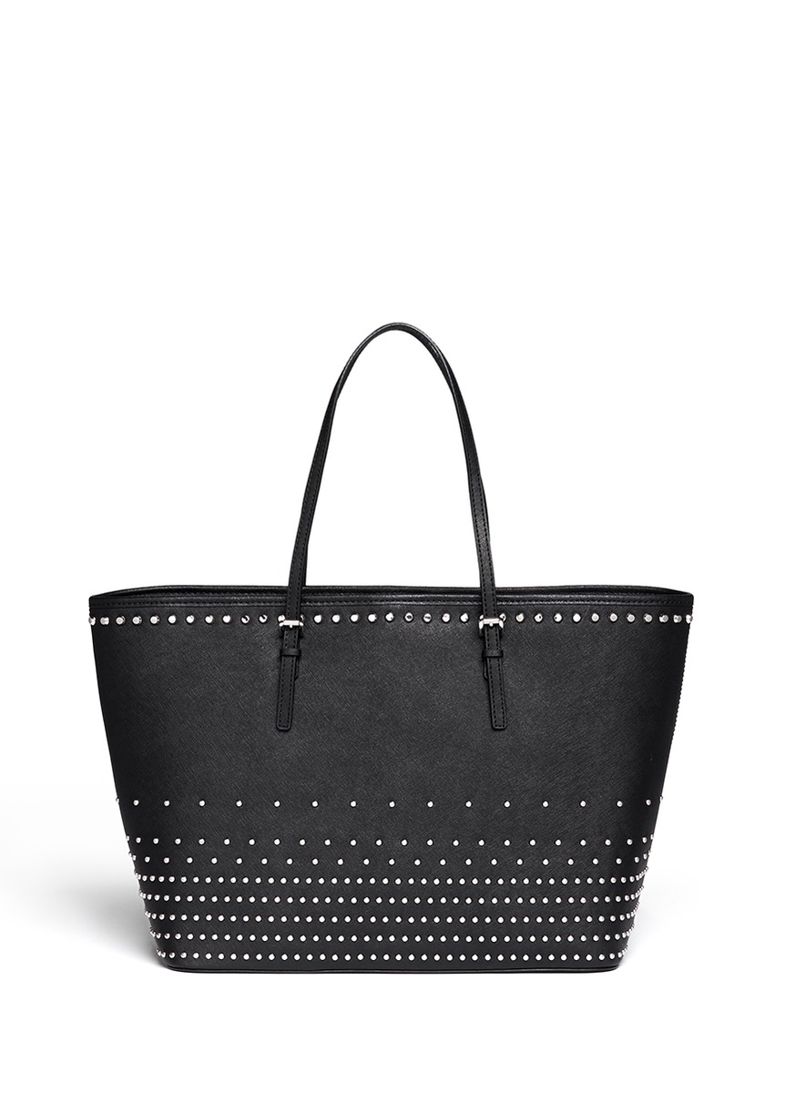 1ba94ff6838 Lyst - Michael Kors Jet Set Large Saffiano Leather Stud Tote in Black
