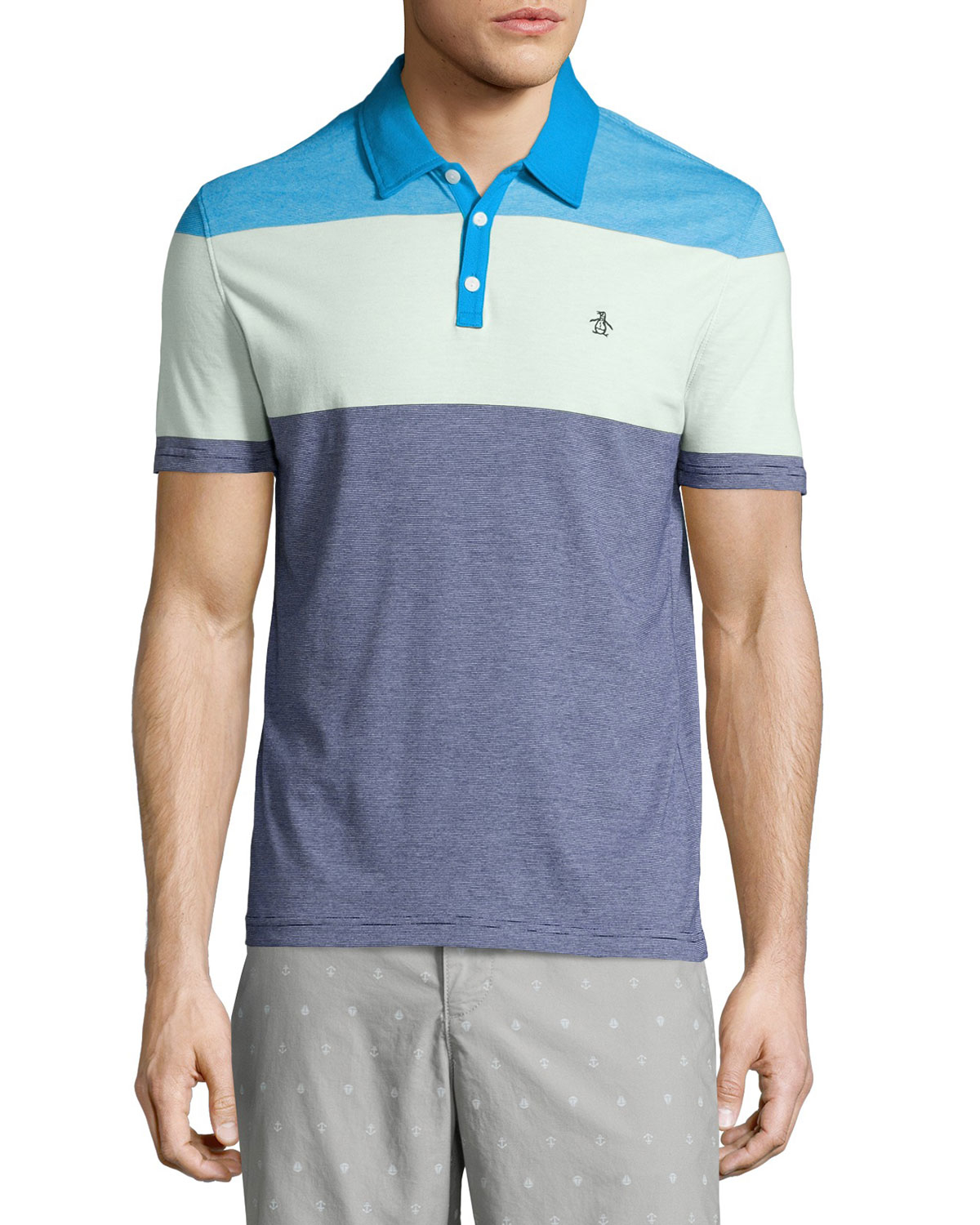 Lyst original penguin striped colorblock polo shirt in for Polo color block shirt