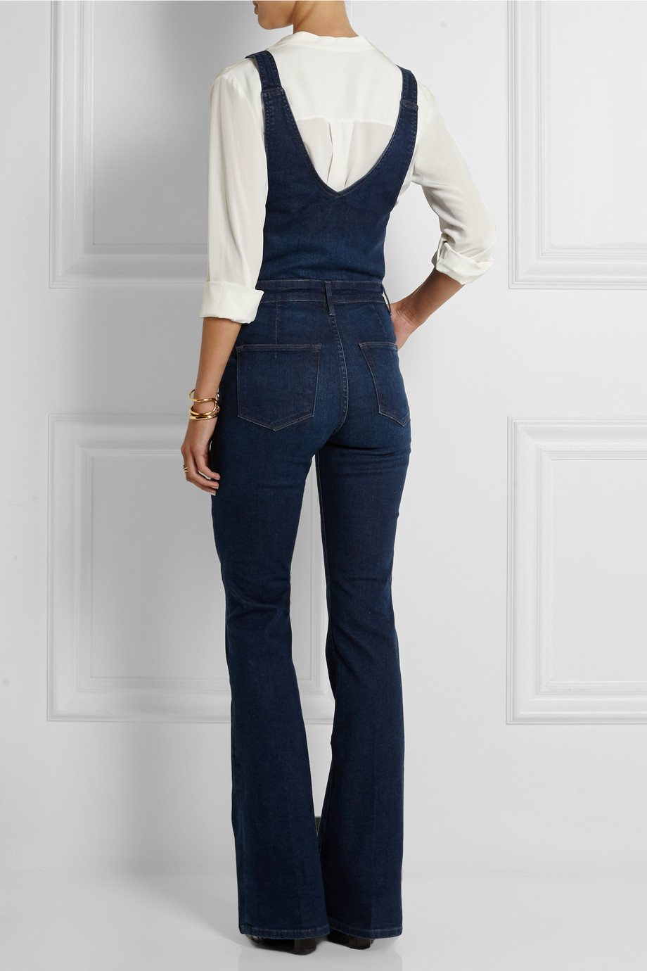 Lyst Frame Le High Flared Stretch Denim Overalls In Blue