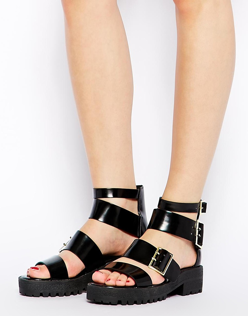 Black sandals chunky - Gallery