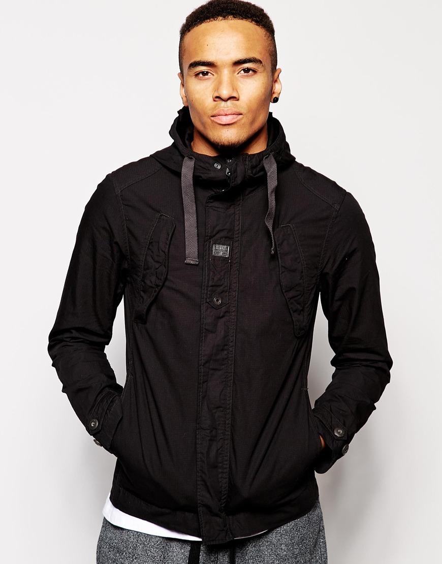 1eaef3c8875 G-star Raw G Star Hooded Overshirt Jacket Benin Combat Ripstop In Black For  Men