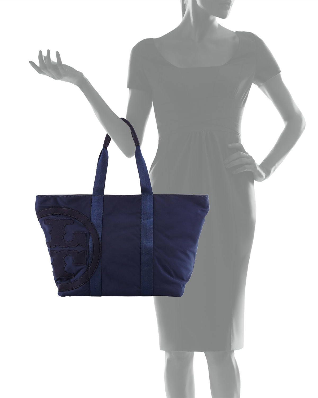 Tory burch Penn Nylon Logo Zip Tote Bag in Blue | Lyst