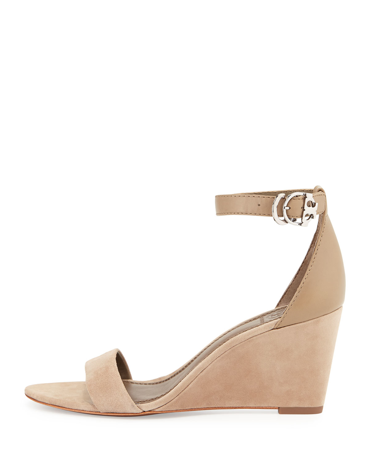 2aac80aa306e80 Lyst - Tory Burch Thames Suede Wedge Sandals in Natural