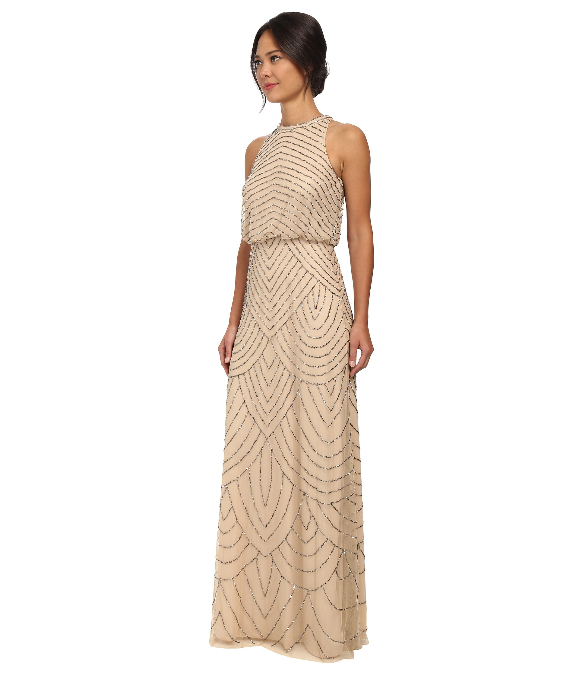 Adrianna papell Beaded Halter Gown in Natural | Lyst
