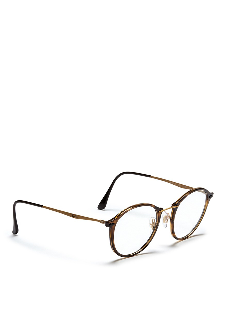 Ray Ban Round Tortoise S Sunglasses  ray ban rb7073 tortoises acetate round optical glasses lyst