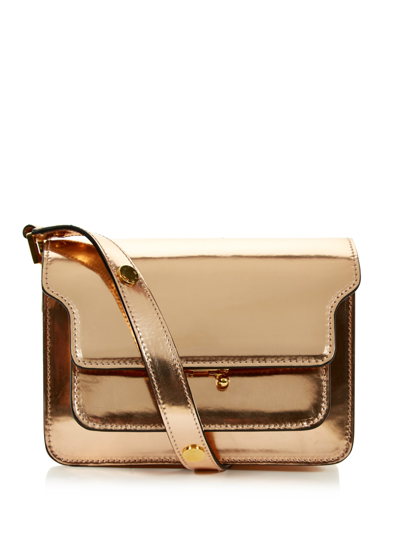 Marni Trunk Mini Leather Shoulder Bag in Pink | Lyst