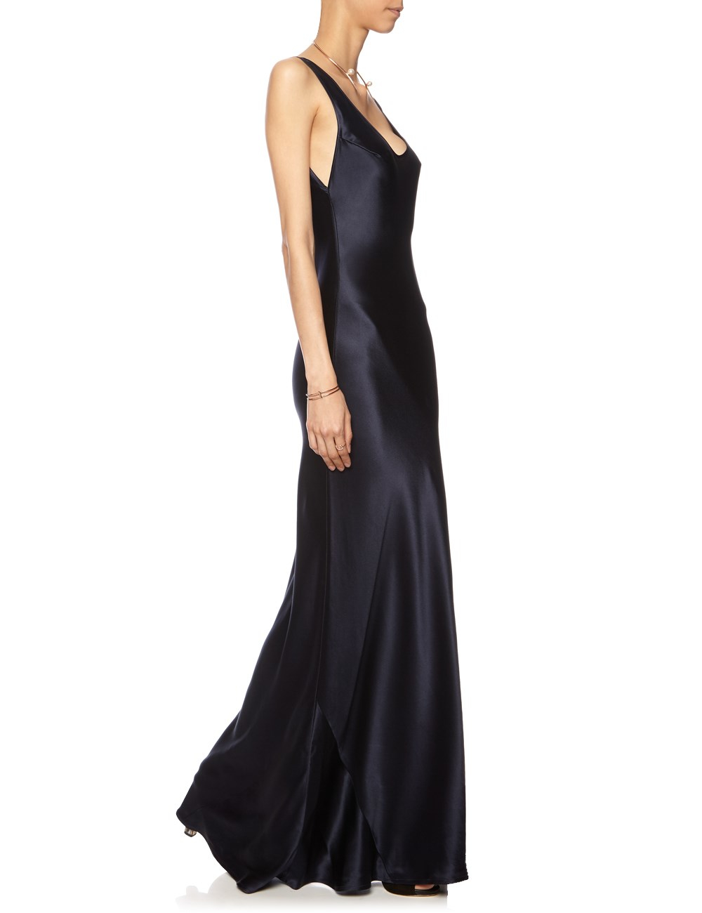 Galvan london Midnight Silk Long Slip Dress in Blue  Lyst