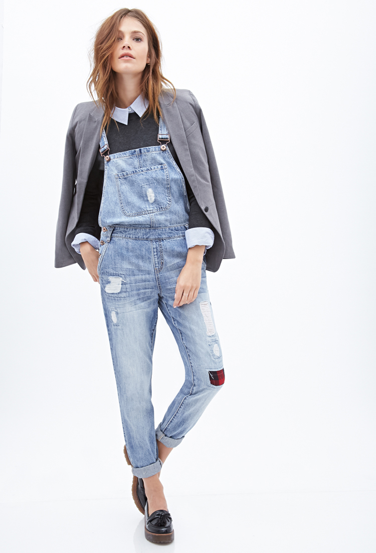 663594696dc Lyst - Forever 21 Distressed   Patched Overalls in Blue