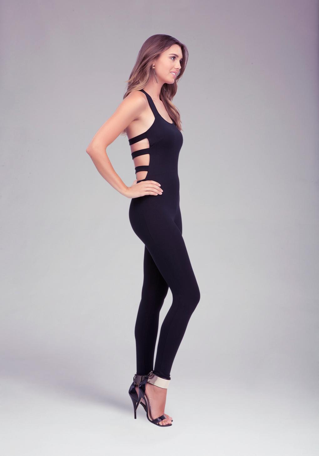 Lyst Bebe Cage Back Jumpsuit In Black