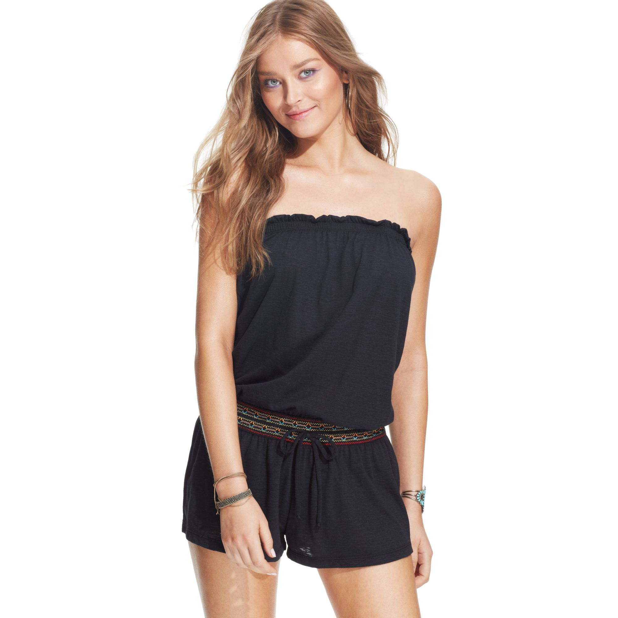 b69fb1e9376d0 Lyst - Lucky Brand Sleeveless Bandeau Romper Cover Up in Black