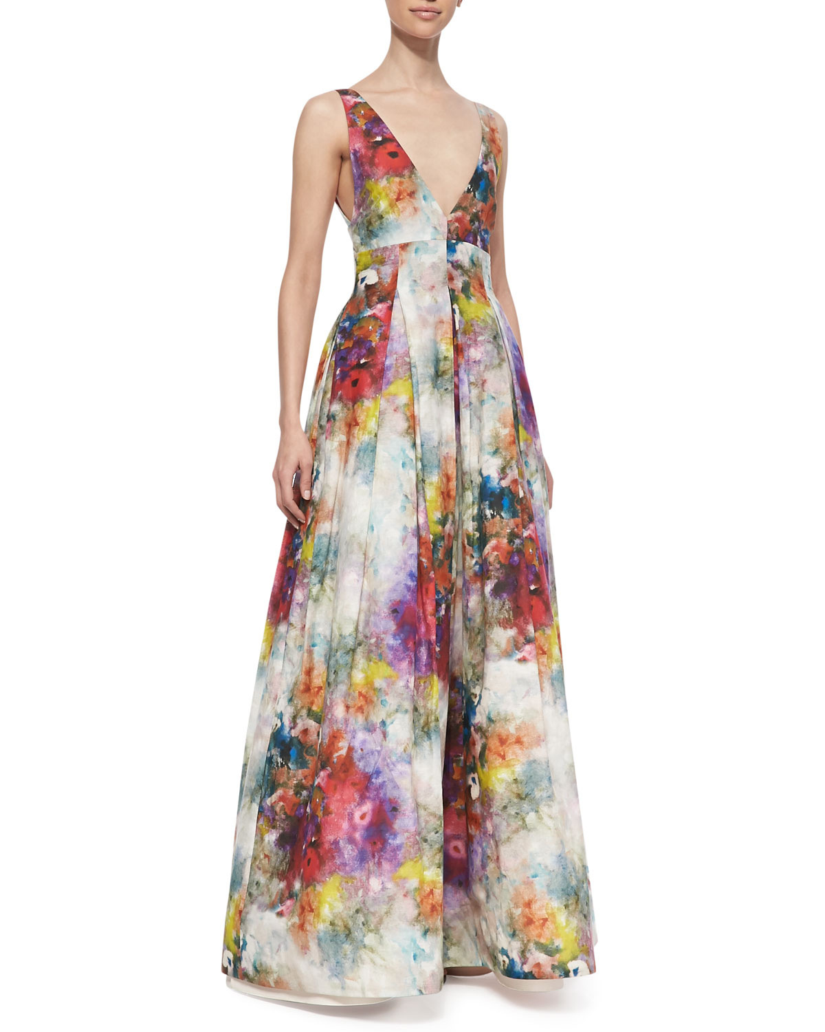Lyst - Alice + Olivia Chantal Floral-Print Sleeveless Gown