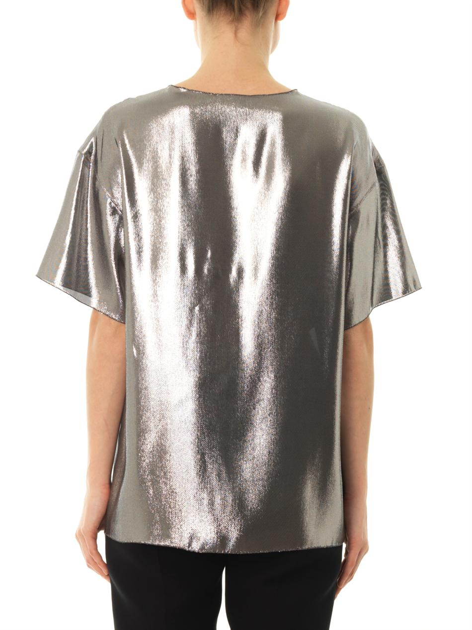 Lanvin dream metallic tshirt in metallic lyst for Silver metallic shirt women s