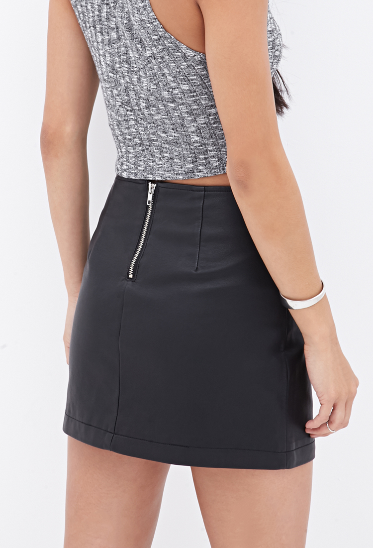 6ace728b9c Forever 21 Zippered Faux Leather Skirt in Black - Lyst