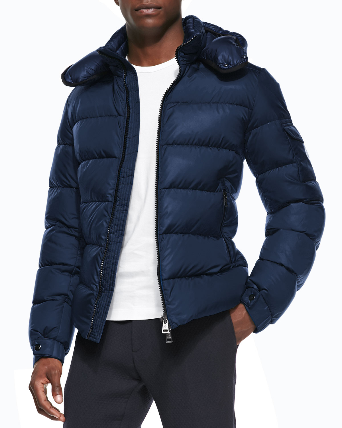 Moncler Himalaya Puffer Jacket With Hood in Blue for Men ...