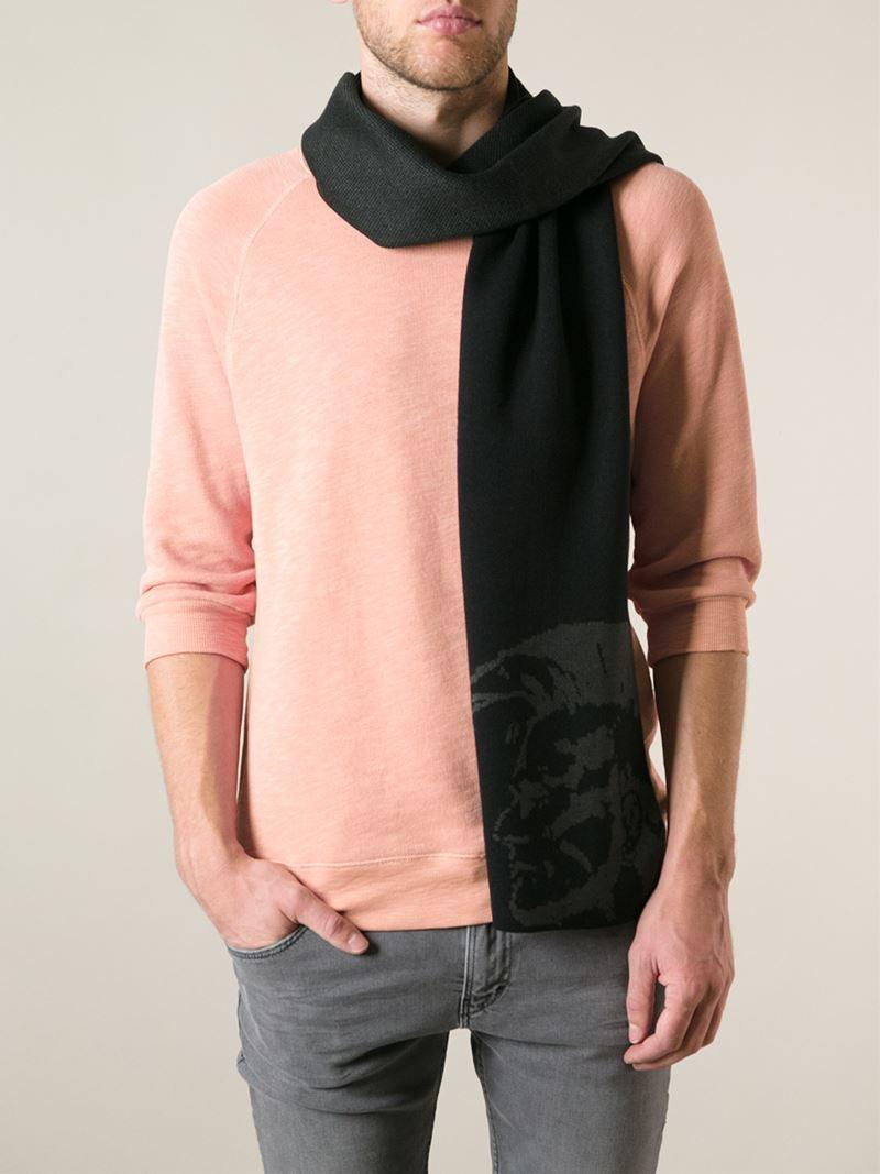 diesel patterned scarf in black for lyst