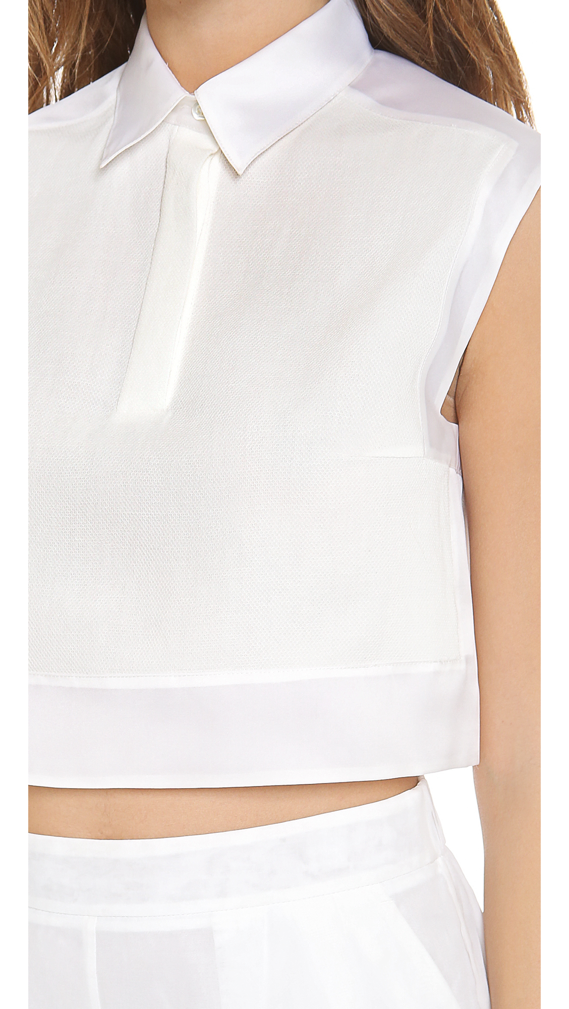 Lyst - 3.1 phillip lim Cropped Collared Tank Top in White