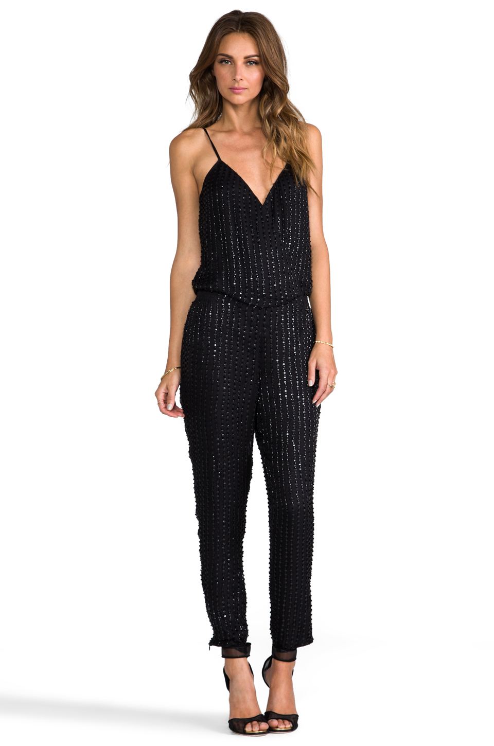 lyst parker autumn sequin jumpsuit in black in black. Black Bedroom Furniture Sets. Home Design Ideas