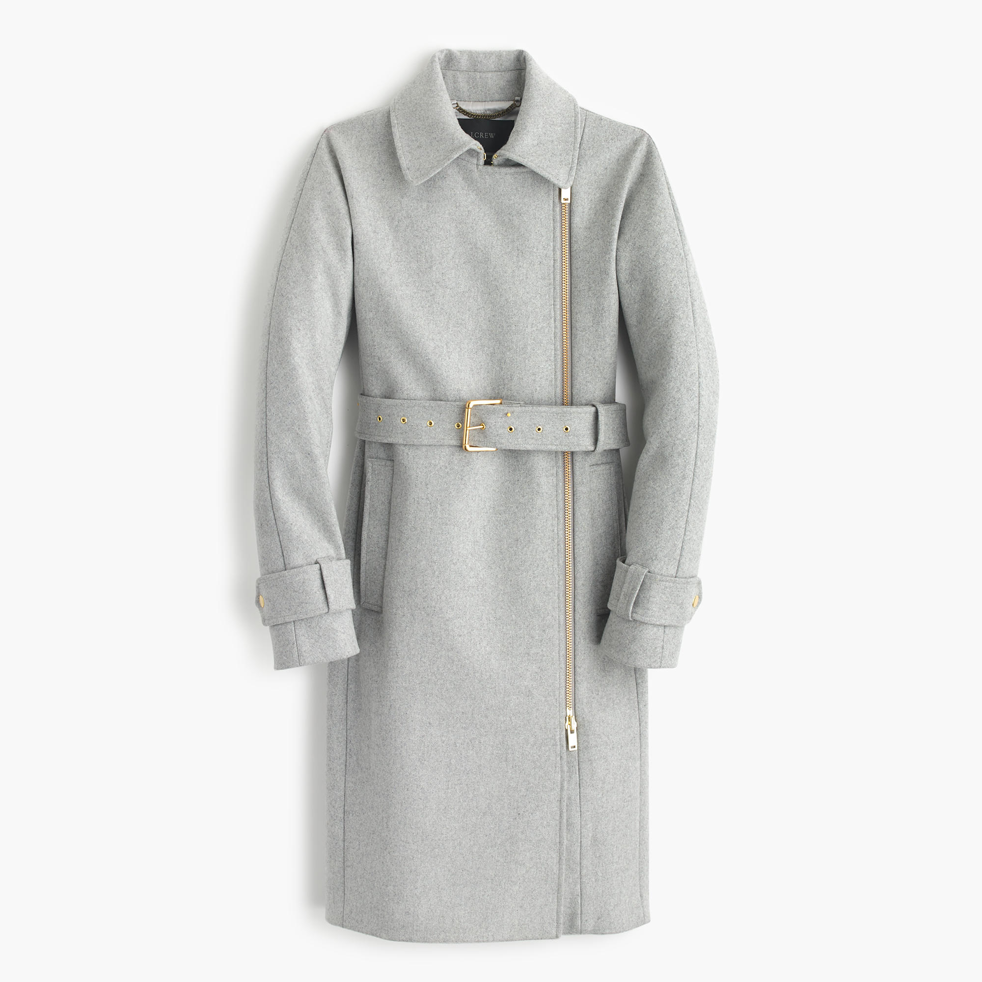 J.crew Belted Zip Trench Coat In Wool Melton in Gray | Lyst