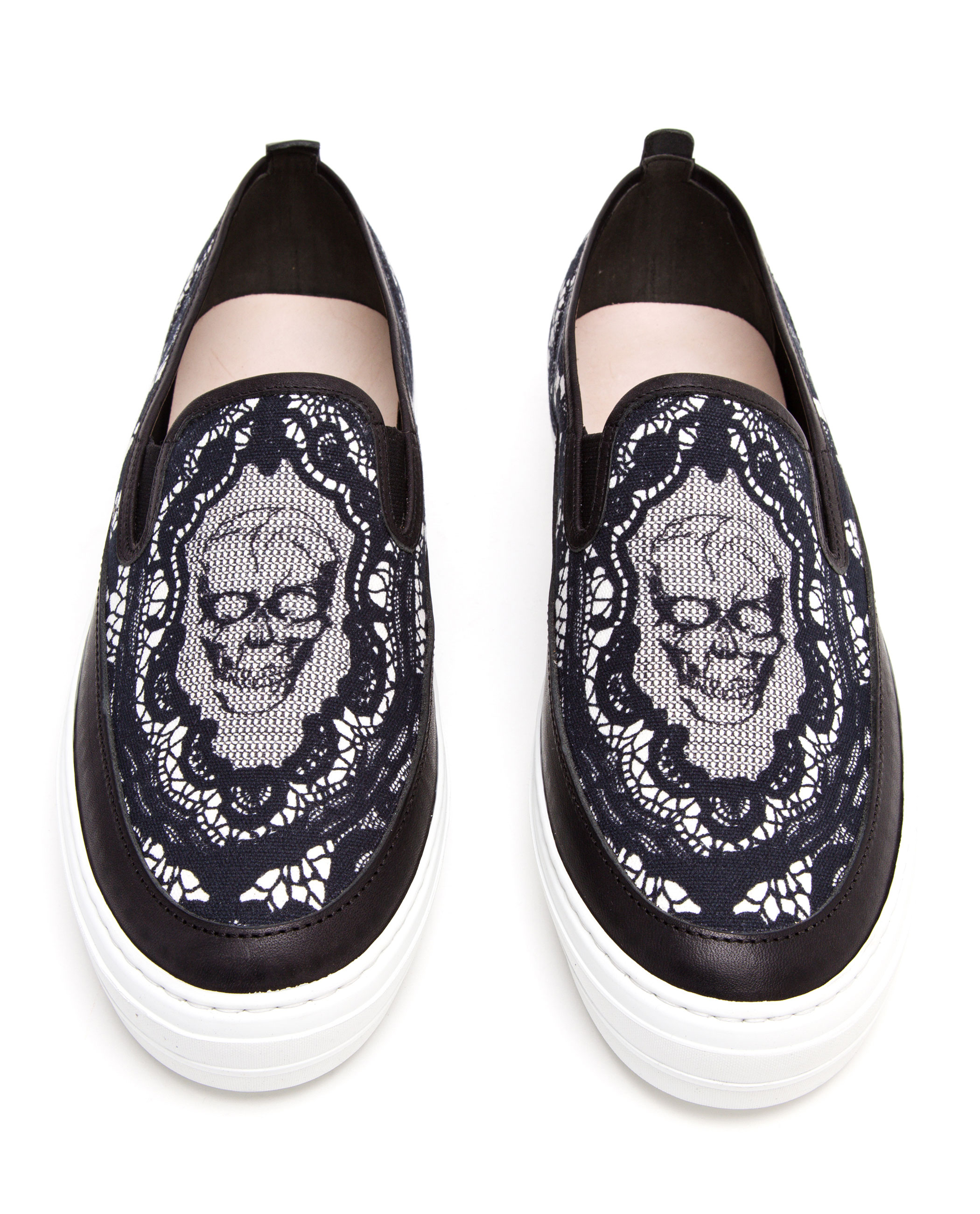 Alexander McQueen Lace Skull Printed Canvas Skate Shoes in ...