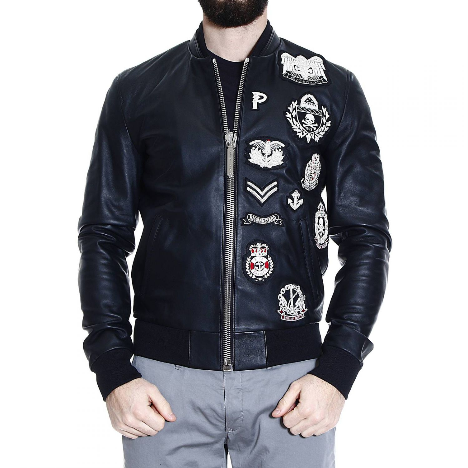 philipp plein down jacket in black for men lyst. Black Bedroom Furniture Sets. Home Design Ideas
