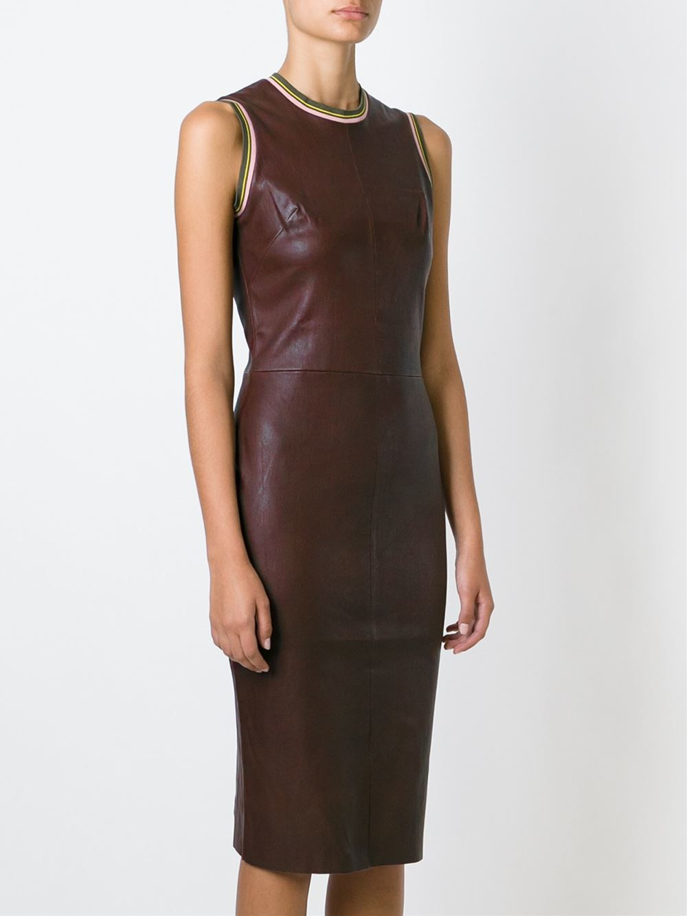 Stouls Leather Midi Dress In Red Lyst