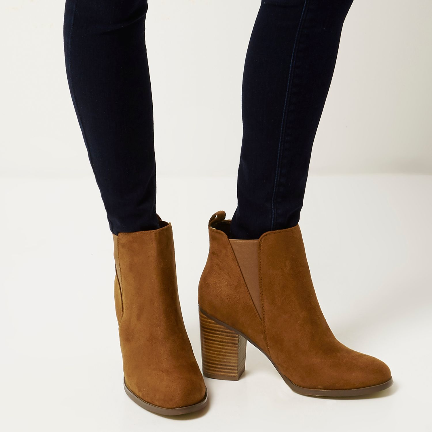 River island Tan Heeled Chelsea Ankle Boots in Brown | Lyst