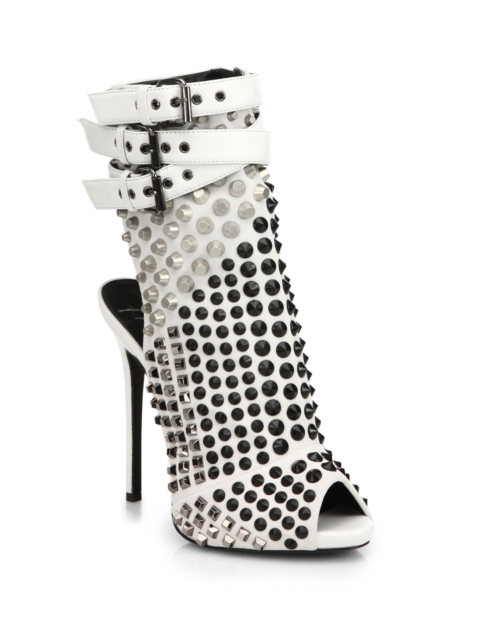 9dda0166dccf1 Giuseppe Zanotti Studded Platform Ankle Boot Sandals in White - Lyst