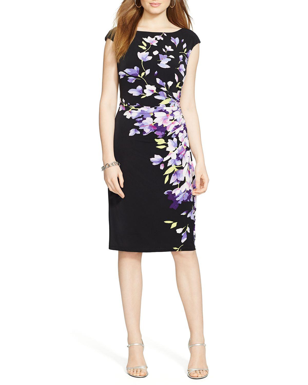 Lyst Ralph Lauren Lauren Dress Floral Print Jersey In