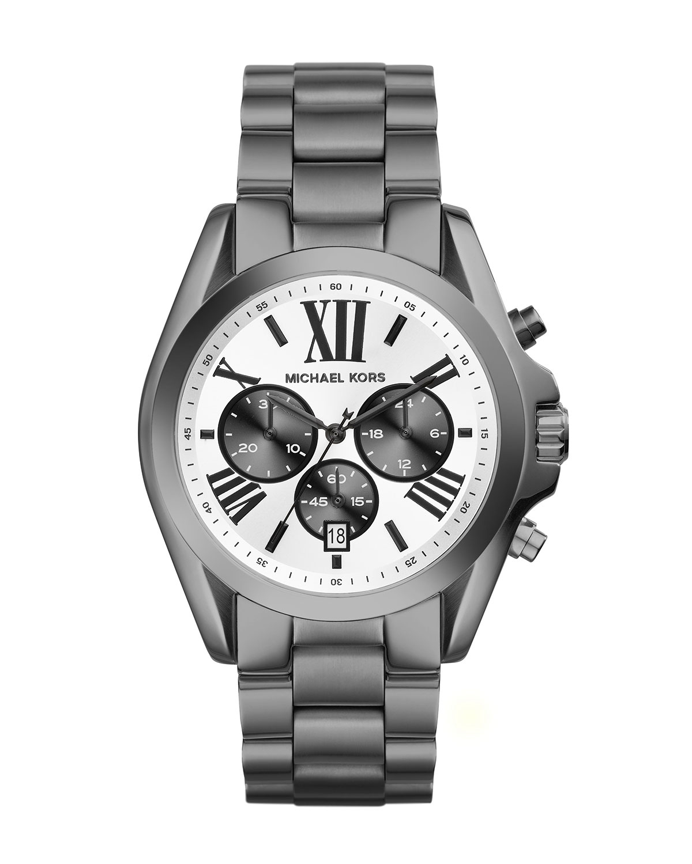 c5e648d6817c ... michael kors metallic mid size gunmetal stainless steel bradshaw  chronograph watch for men ...