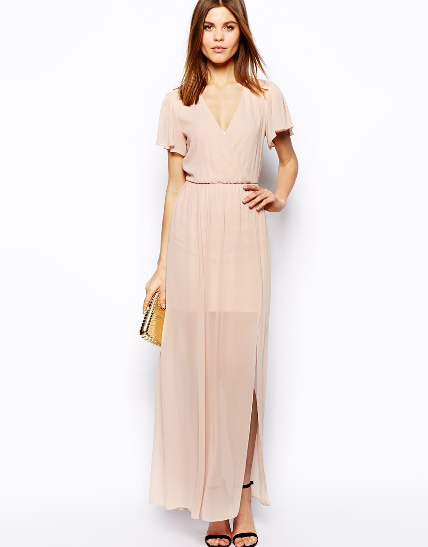 Asos Maxi Dress With Ruffle Sleeve in Natural | Lyst