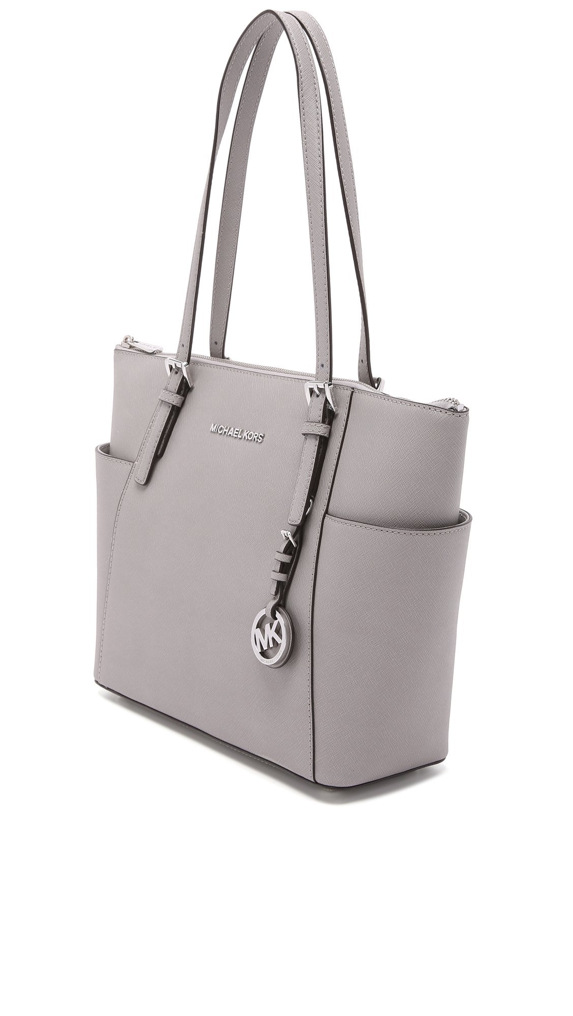 ef92abc84edd0f MICHAEL Michael Kors Jet Set Top Zip Tote in Gray - Lyst