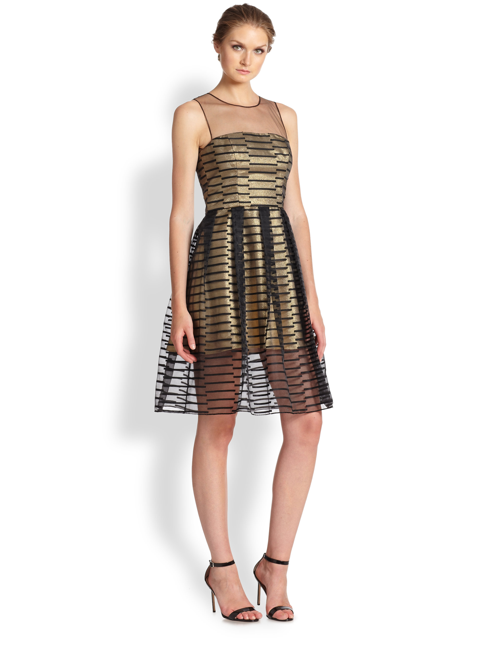 Abs by allen schwartz Metallic Cocktail Dress in Black | Lyst