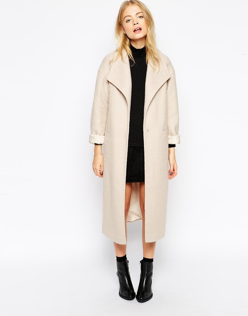 Asos Duster Coat In Textured Wool in Natural | Lyst