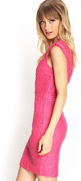 forever 21 textured lace sheath dress in pink hot pink