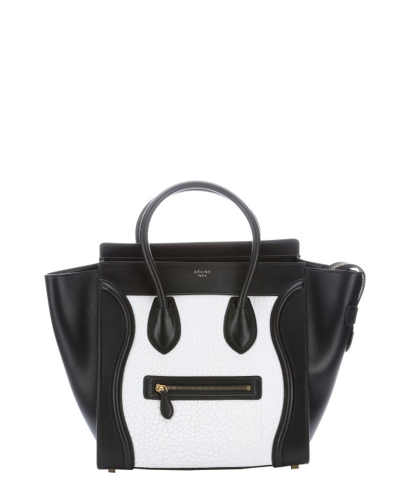 32ca03f9d9 Celine Black and White Embossed Leather Phantom Trapeze Handbag in .