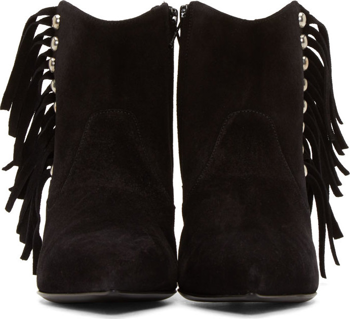 Saint laurent Black Suede Fringe Ankle Boots in Black | Lyst