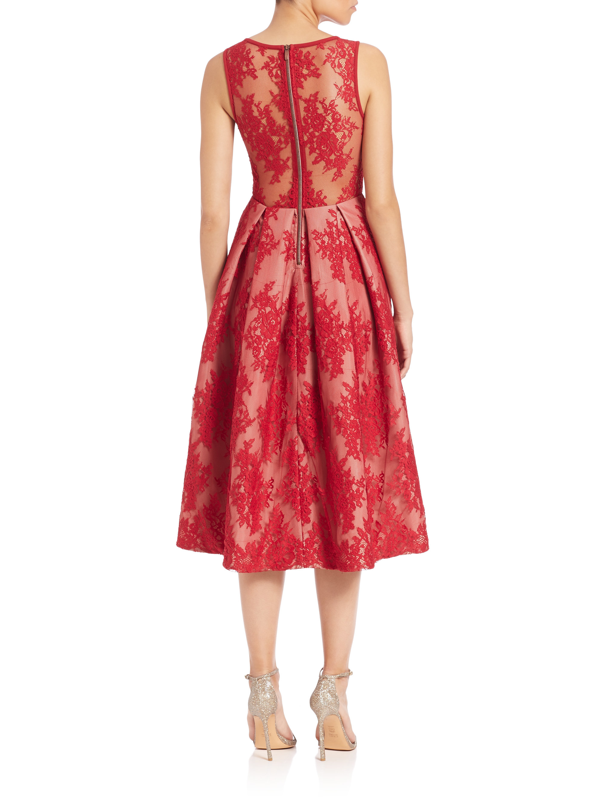 Lyst Black Halo Eliason Chantilly Lace Cocktail Dress In Red