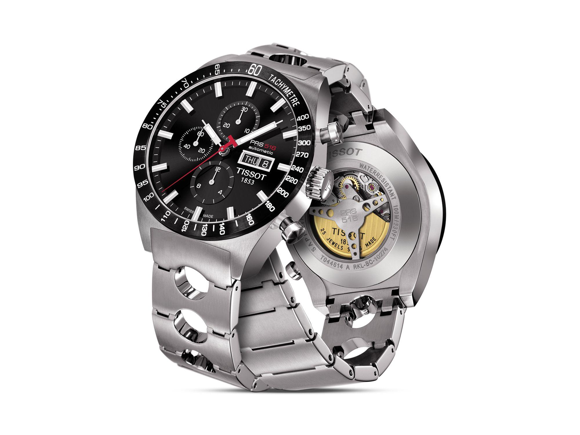 tissot prs516 s black automatic chronograph steel