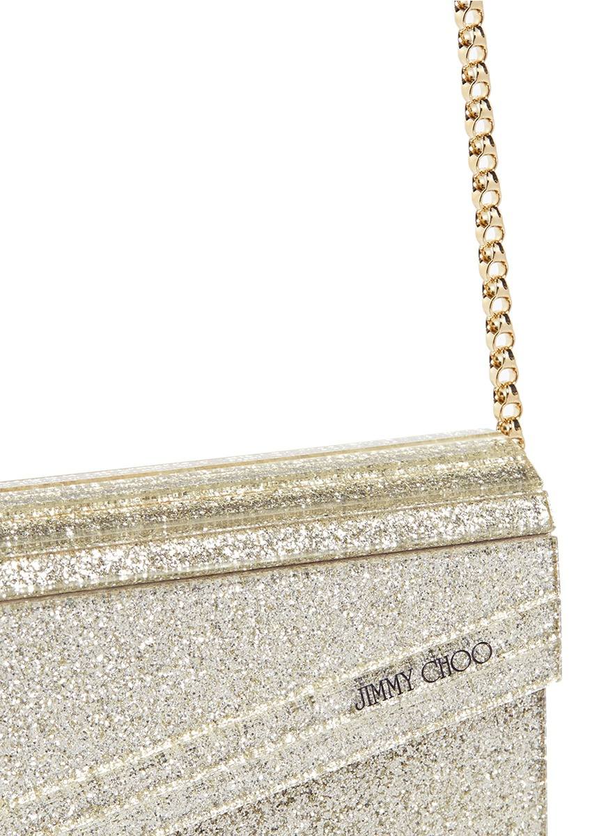 db0339dd2c3fb Jimmy Choo Candy Glitter Acrylic Chain Clutch in Metallic - Lyst