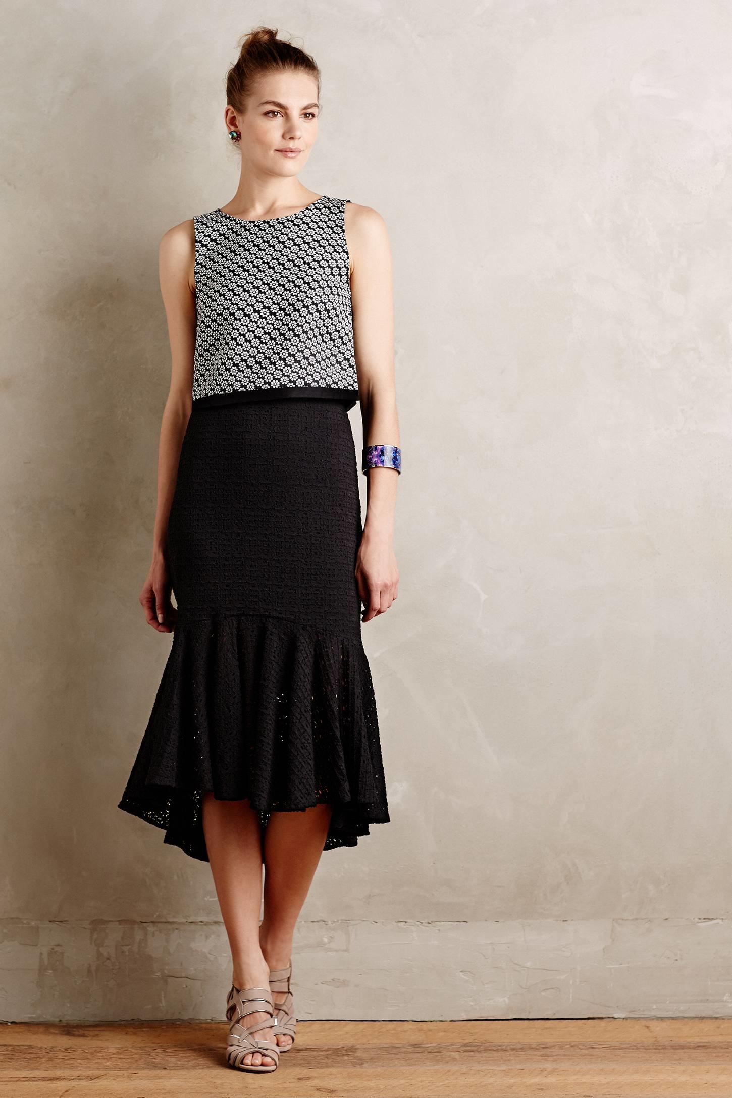 Weston Flared Lace Midi Skirt in Black | Lyst