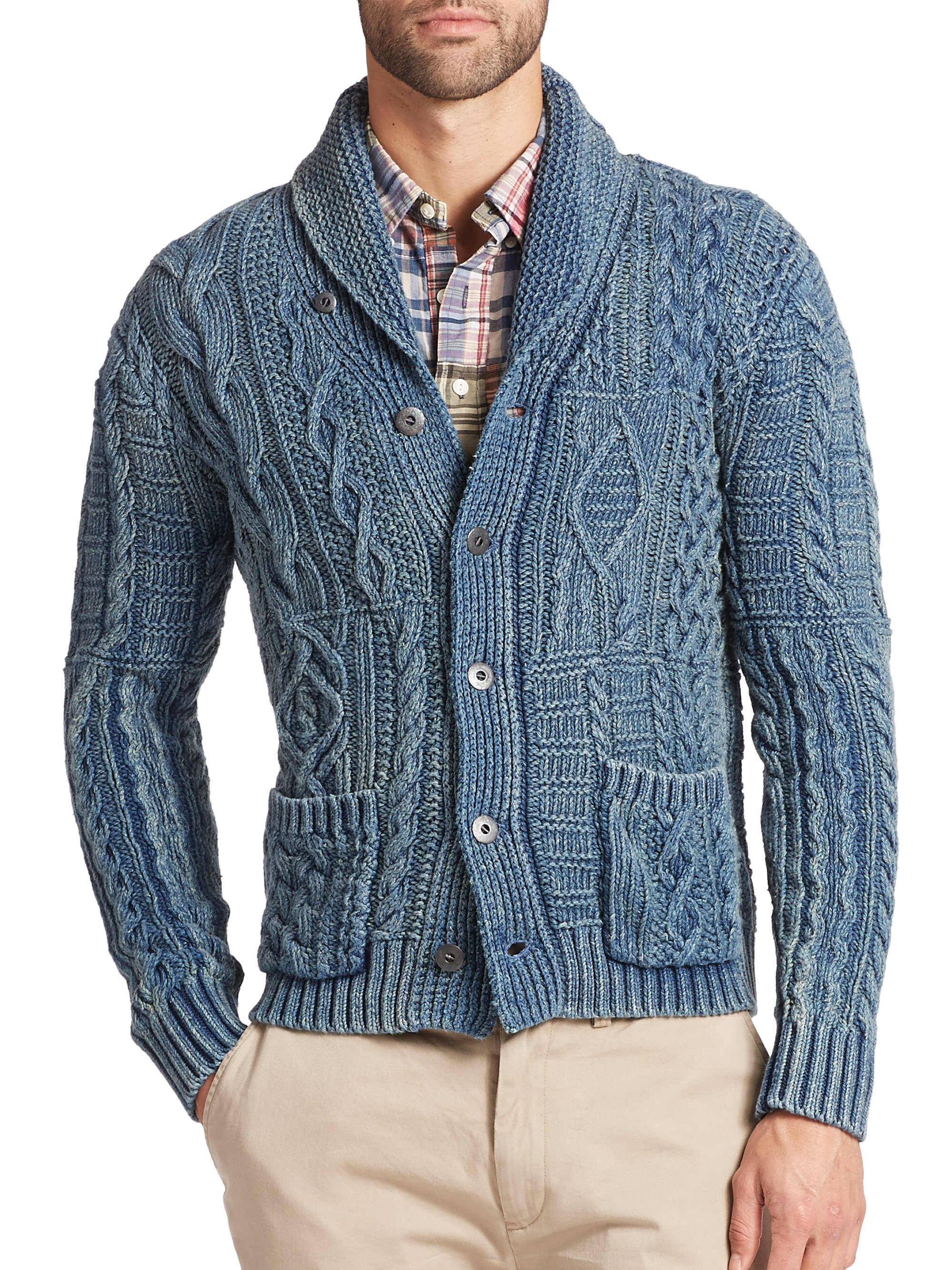 Polo Ralph Lauren Cable Knit Shawl Cardigan In Green For