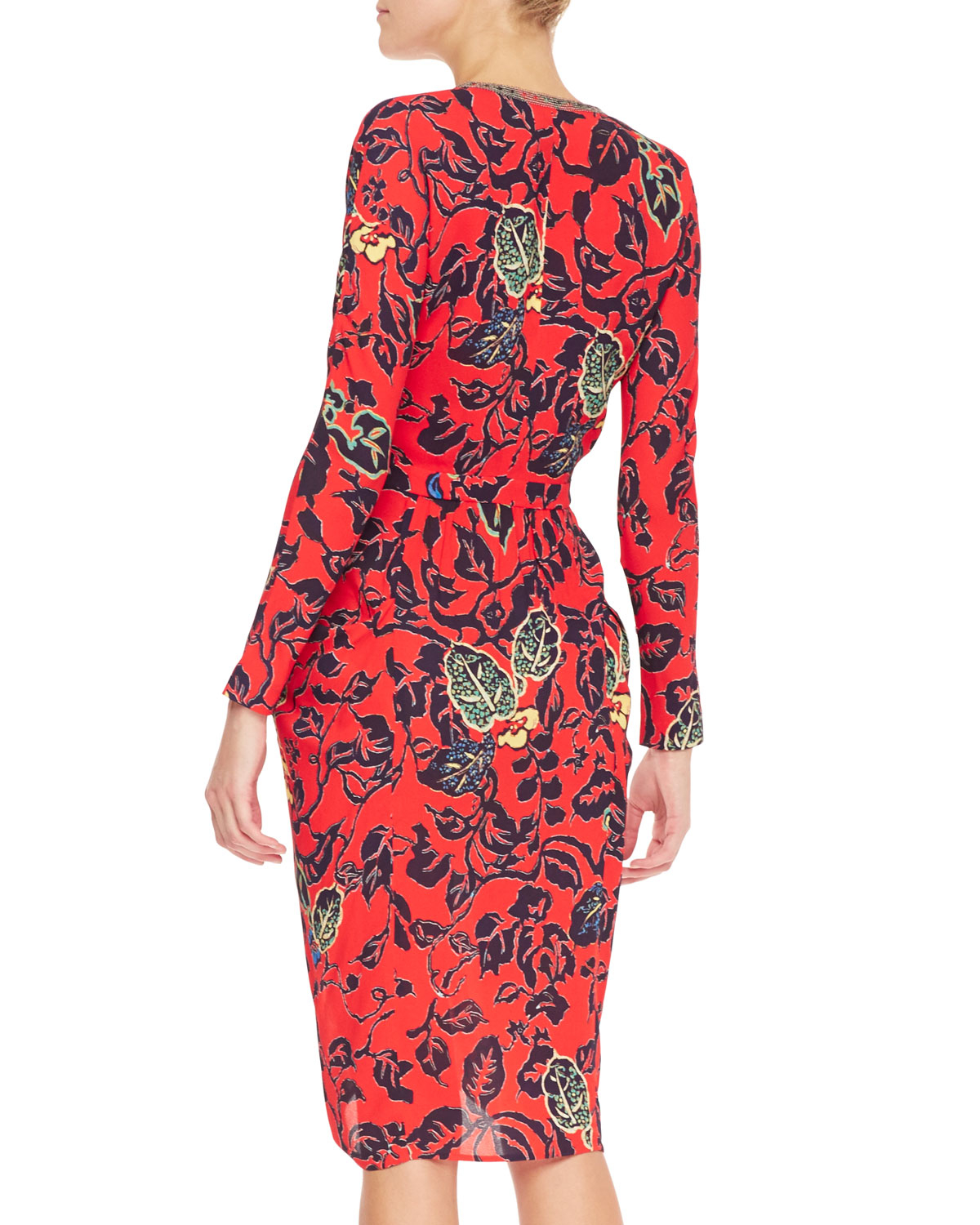 Lyst Etro Plunging Maui Floral Dress With Long Sleeves