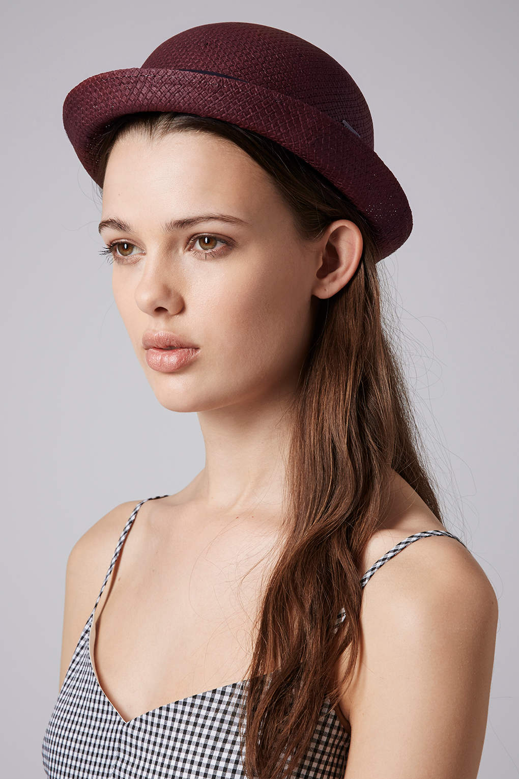 43f5226fa92f5 TOPSHOP Womens Box Band Bowler Hat in Red - Lyst