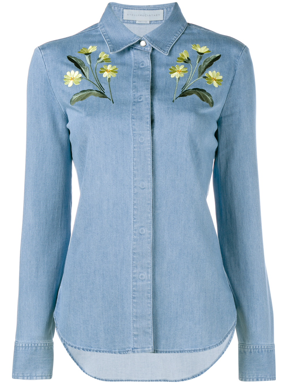 1f5d00d5be5 Lyst - Stella McCartney Floral Embroidered Denim Shirt in Blue