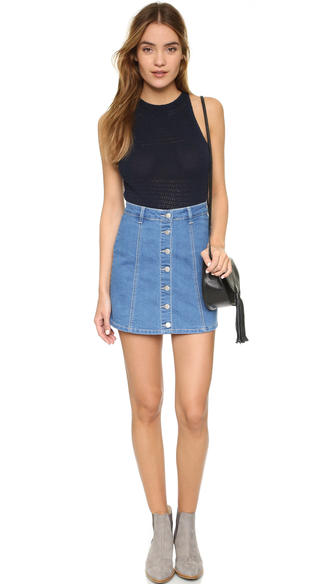 Minkpink All I Want Button Up Skirt in Blue | Lyst