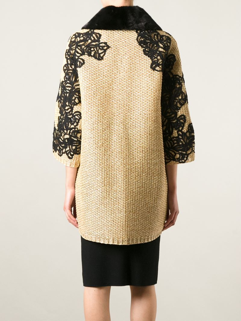 Ermanno scervino floral embroidered coat in natural lyst