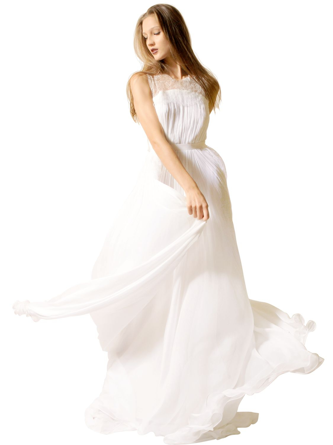 Lyst Maria Lucia Hohan Silk Muslin Dress With Lace In White