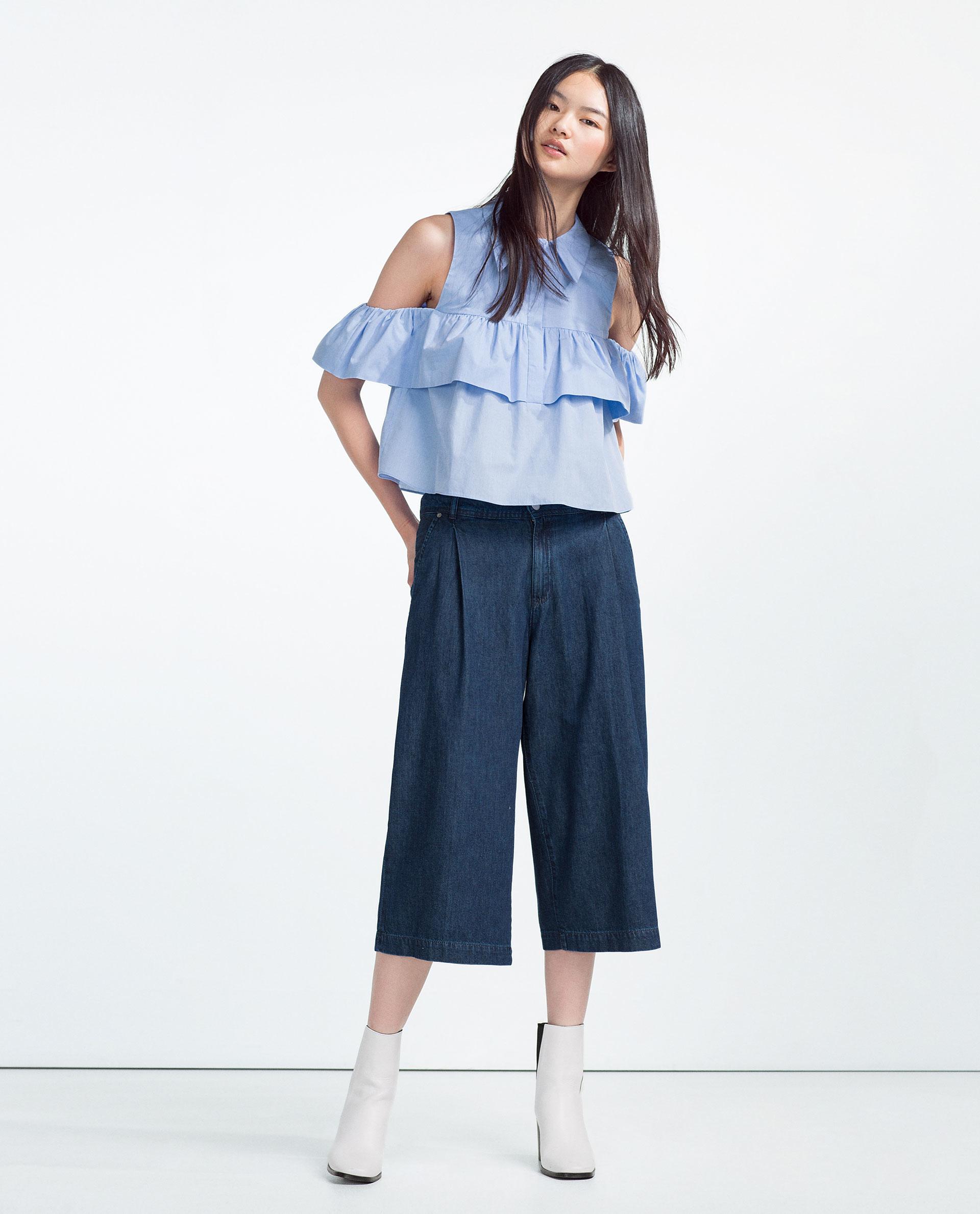 Zara Denim Culottes in Blue