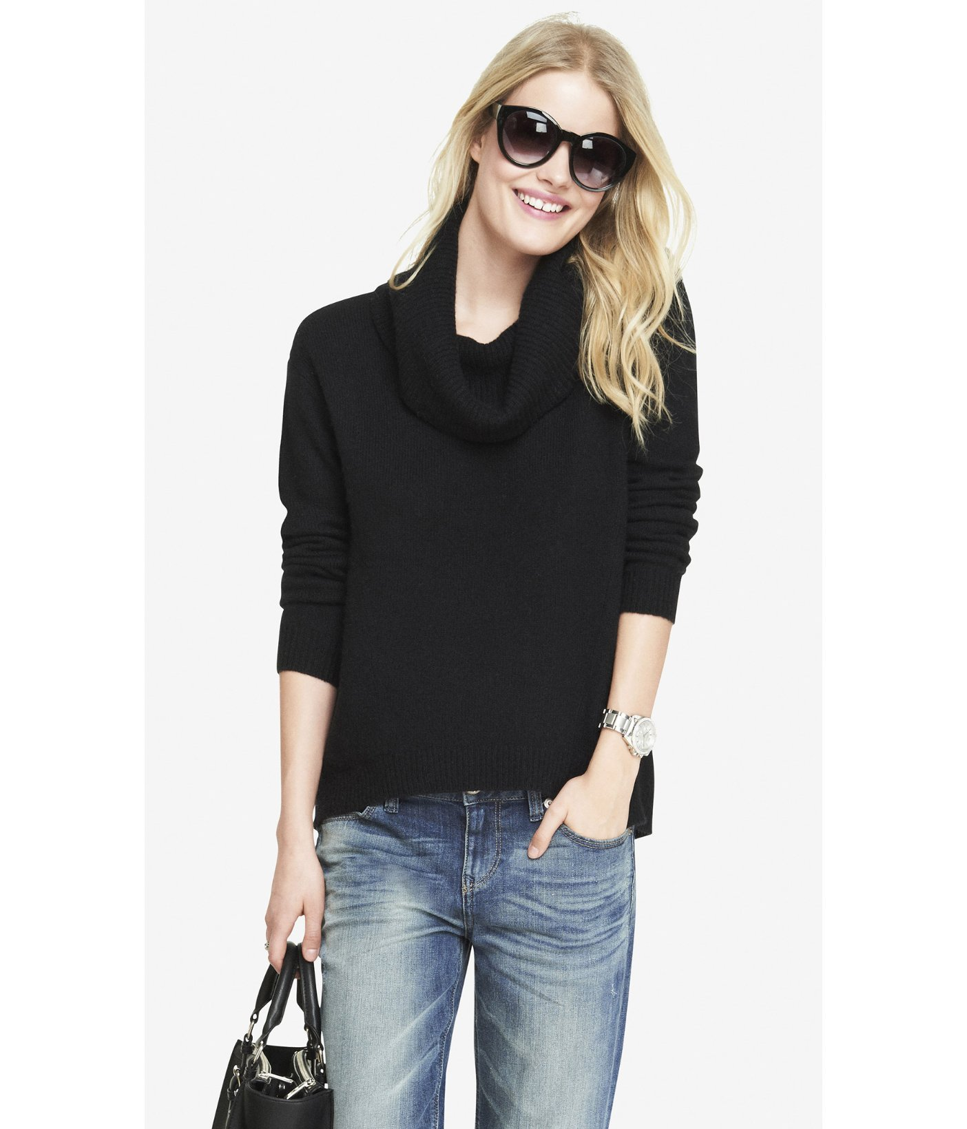 Express Oversized Cowl Neck Slanted Seam Sweater in Black | Lyst